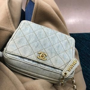 Denim vintage Chanel camera bag